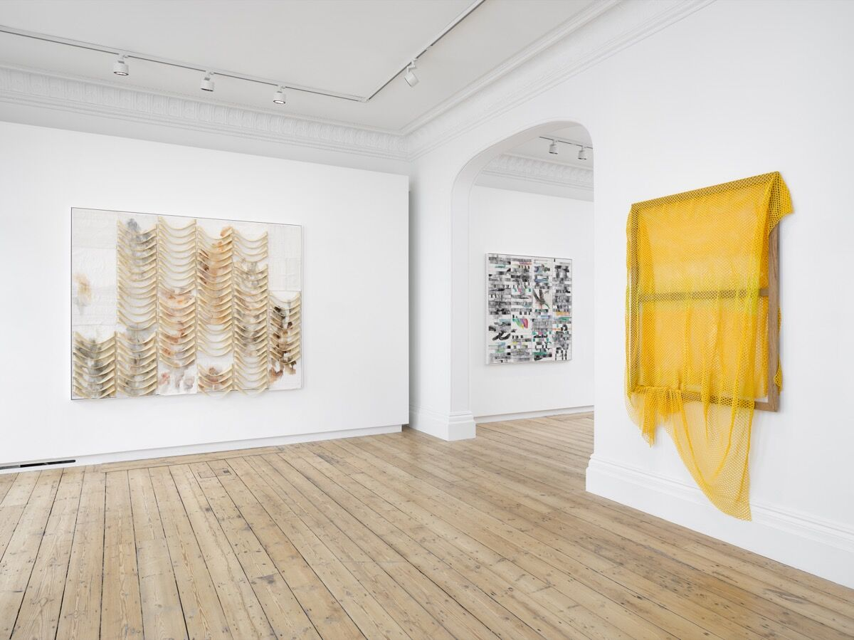 """Liza Lou, installation view, from left to right, of Going to California, 2021; Lost Highway, 2021; and Almost Home, 2009–11, in """"Desire Lines"""" at Lehmann Maupin, London, 2021. Photo by Jack Hems. Courtesy of the artist and Lehmann Maupin."""