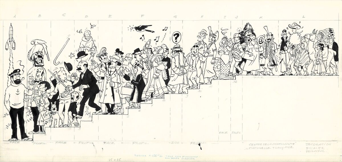 Hergé, Fresco for the Cultural Center of Wallonie-Bruxelles (detail), 1979. © HergeMoulinsart2016. Image courtesy of Artcurial.