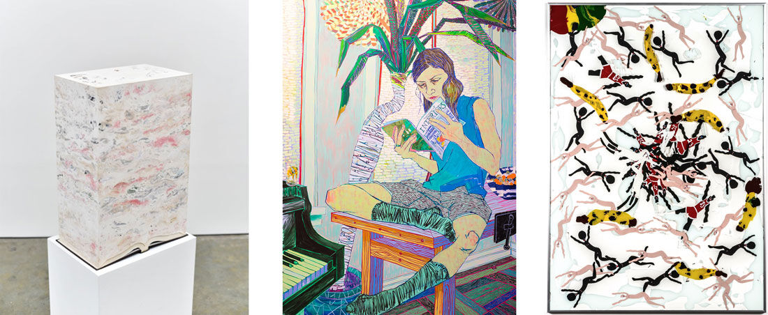 """Jonathan Callan, Bequest, 2014. Image courtesy of Josée Bienvenu Gallery; Hope Gangloff, Couch Surfer, 2015. Image courtesy of Susan Inglett Gallery; Devin Troy Strother, New nigga abstractions in an Ikea frame, part 16, """"49 niggas and 7 bananas in an Ikea frame"""", 2015. Image courtesy of Richard Heller Gallery."""