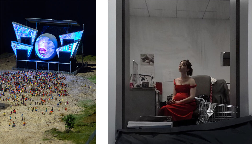 Left: Anne de Vries's installation at the 9th Berlin Biennale. Courtesy of Anne de Vries. Photo by Timo Ohler, courtesy of the 9th Berlin Biennale for Contemporary Art; Right: Amalia Ulman, PRIVILEGE (2016).Photo via Instagram.
