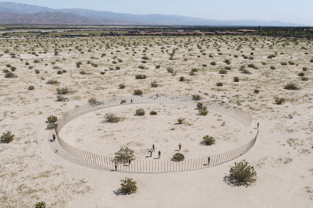 Phillip K. Smith III, The Circle of Land and Sky, 2017, Desert X, Palm Desert, CA. Photograph by Lance Gerber Studio. Courtesy of Phillip K Smith III Studio.