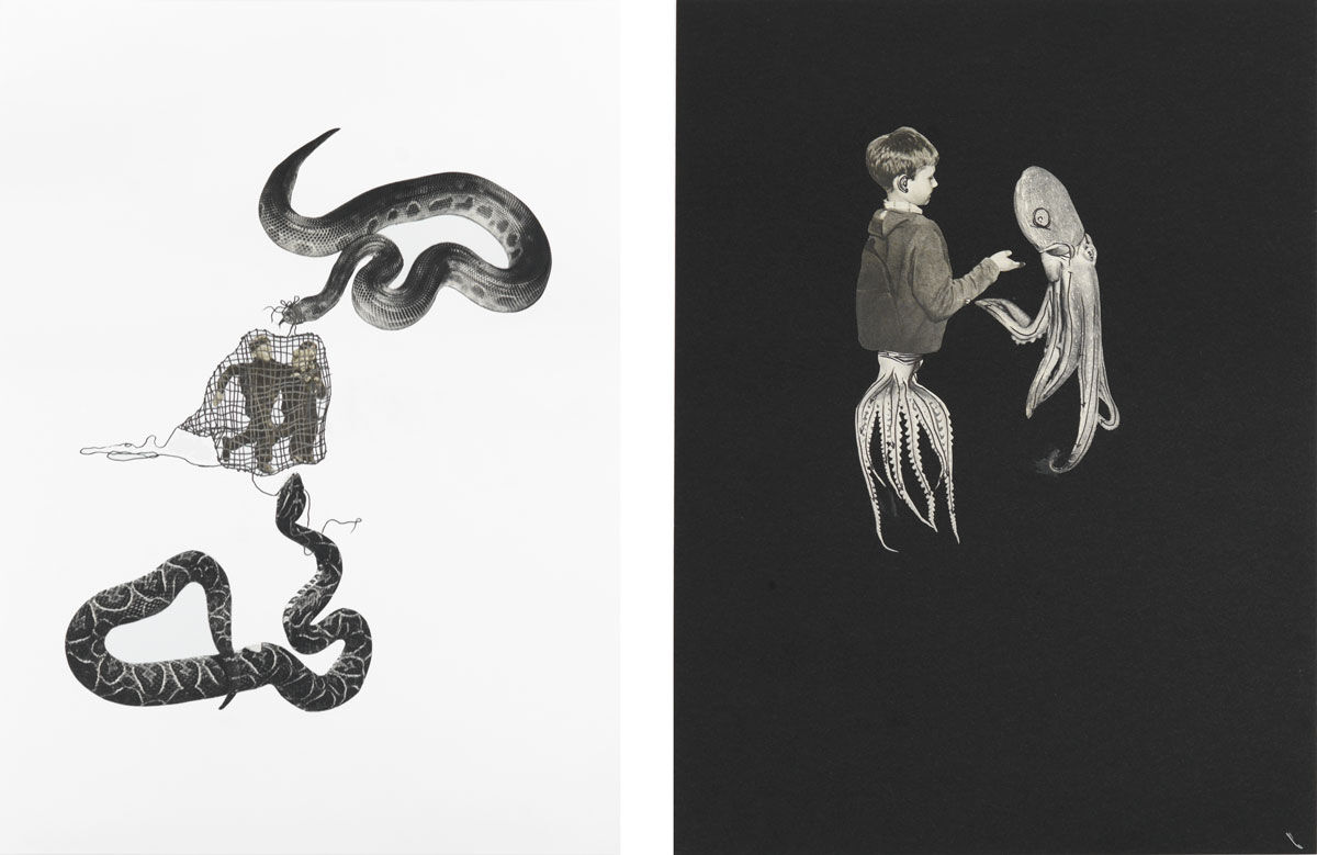 Left: Eva Kot'átková, Untitled (a mouse's home is the snake's boday), 2016; Right: Eva Kot'átková, Untitled (a mouse's home is the snake's boday), 2016. Images courtesy of the artist and Maccarone.