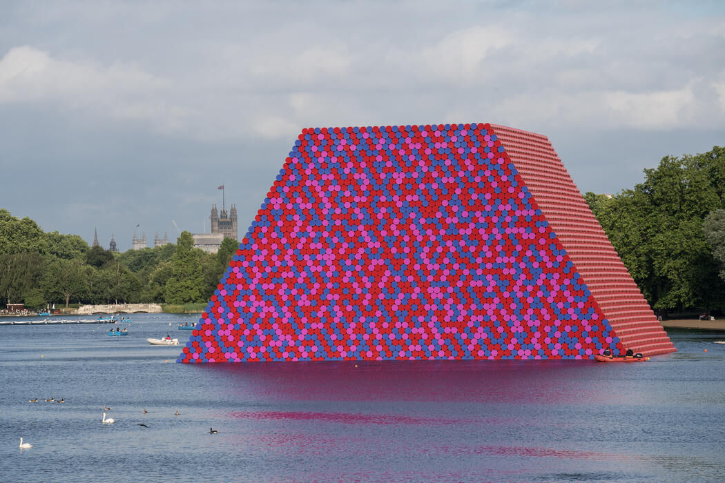 Christo and Jeanne-Claude, The London Mastaba, Serpentine Lake, Hyde Park, 2016-18. © 2018 Christo. Photo by Wolfgang Volz. Courtesy of the artist.