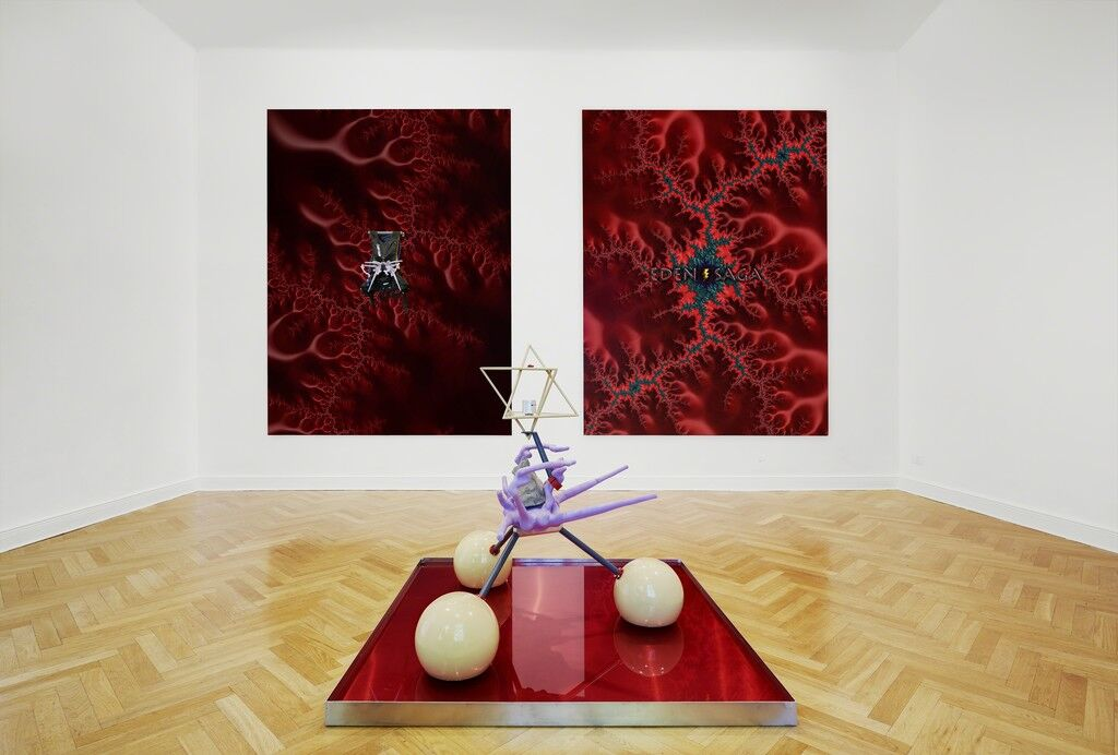 """Installation view of """"Terbium Energy Catalyst / Solar Maximum / Hybrid Synergy Drive."""" Courtesy of Future Gallery and the artist."""