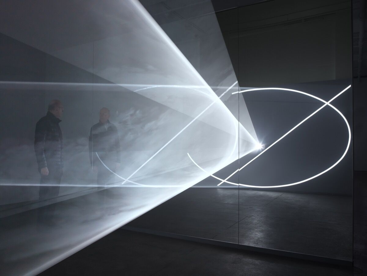 Installation view of Anthony McCall, Split Second (Mirror), 2018 at Sean Kelly, New York, 2018. Photo by Dan Brandica. Courtesy of Albright-Knox Art Gallery.