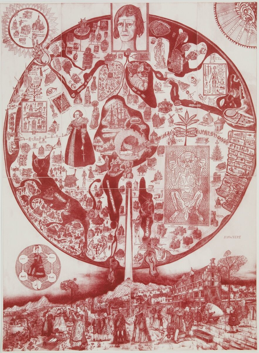 Grayson Perry, Map of Nowhere (Red), 2008. © Grayson Perry. Courtesy of the artist, Paragon | Contemporary Editions Ltd and Victoria Miro, London/Venice.