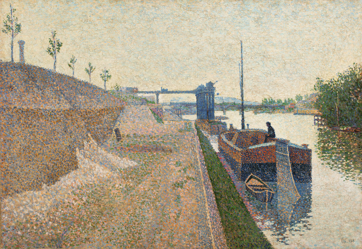 Paul Signac, Quai de Clichy. Temps Gris, 1887. Est. £600,000–800,000 ($783,000–1 million). Courtesy Sotheby's.