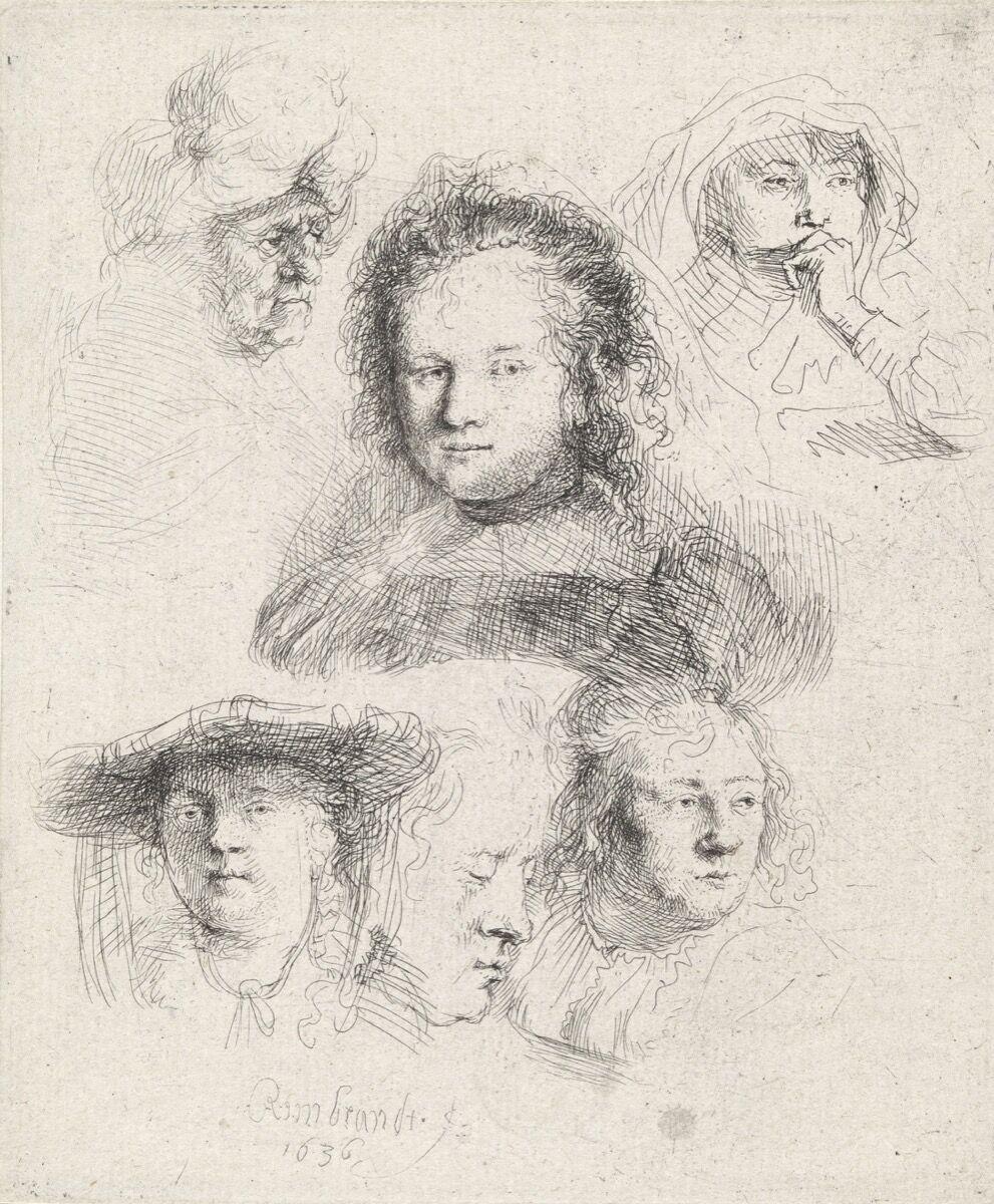 Rembrandt van Rijn, Sechs Kopfstudien: Saskia und eine unbekannte Person, 1636. Photo © bpk, Hamburger Kunsthalle. Photo by Cristoph Irrgang. Courtesy of Bucerius Kunst Forum.