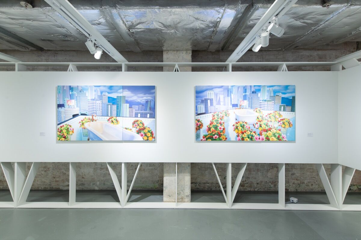"""Mak Ying Tung 2, installation view of """"Home Sweet Home"""" series in de Sarthe Gallery's booth at Unscheduled, 2020. © HKAGA. Photo by Felix SC Wong. Courtesy of Hong Kong Art Gallery Association."""
