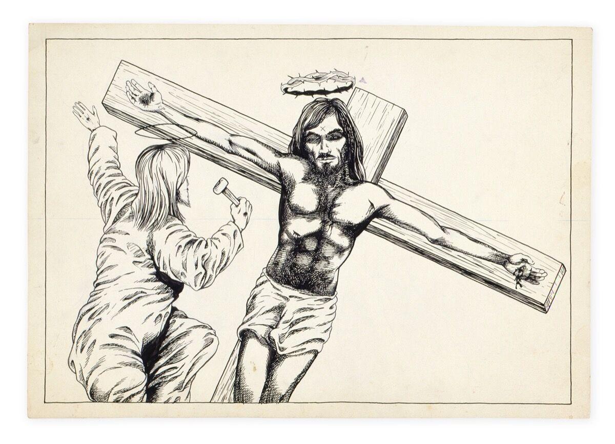 Raymond Pettibon,No Title (Jesus), 1979. Hauser & Wirth Collection, Switzerland. Photo courtesy Archive Hause & Wirth Collection, Switzerland.