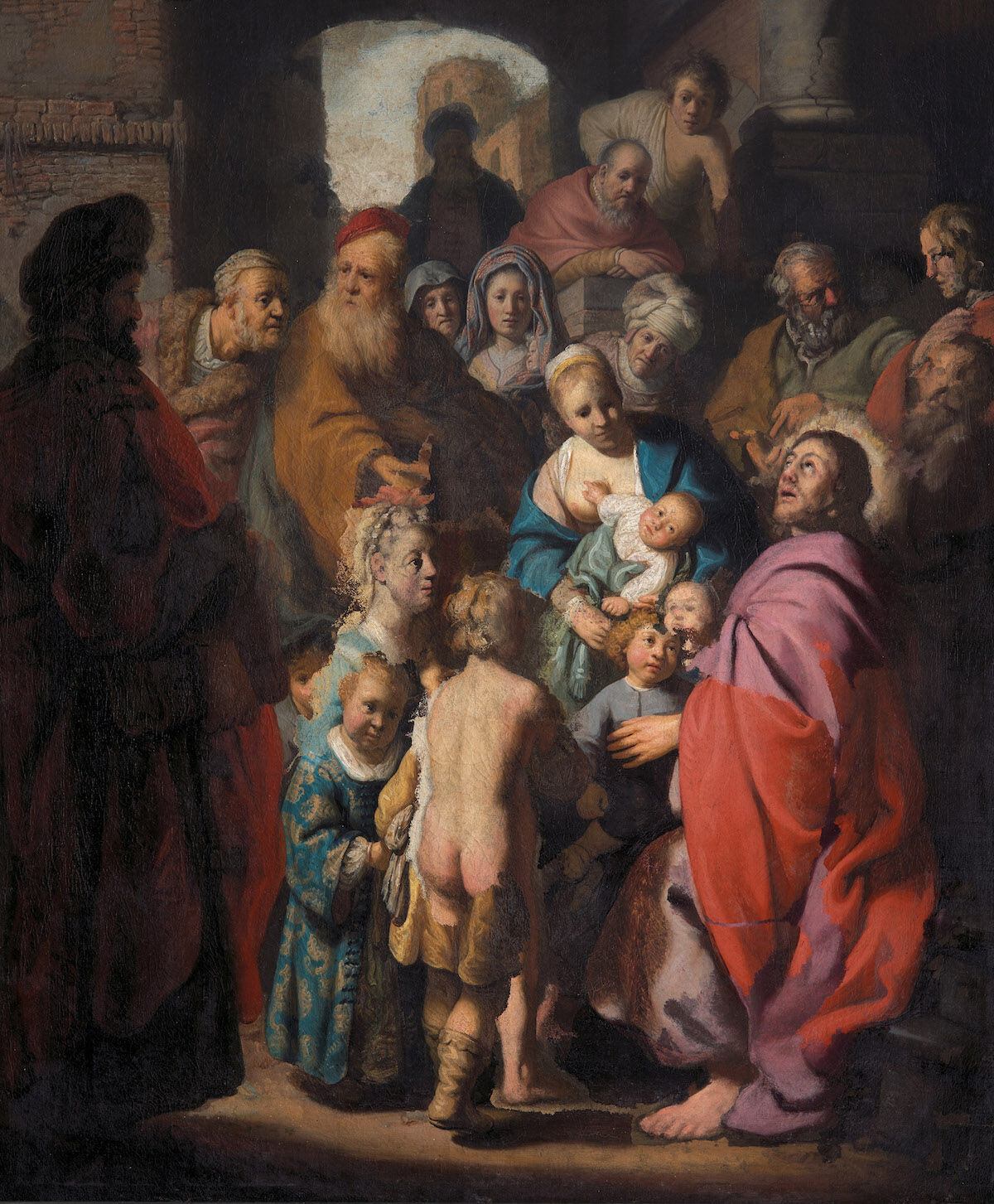 Rembrandt and others, Let the Little Children Come to Me, ca. 1627–28 and later. Courtesy Jan Six Fine Art, Amsterdam.