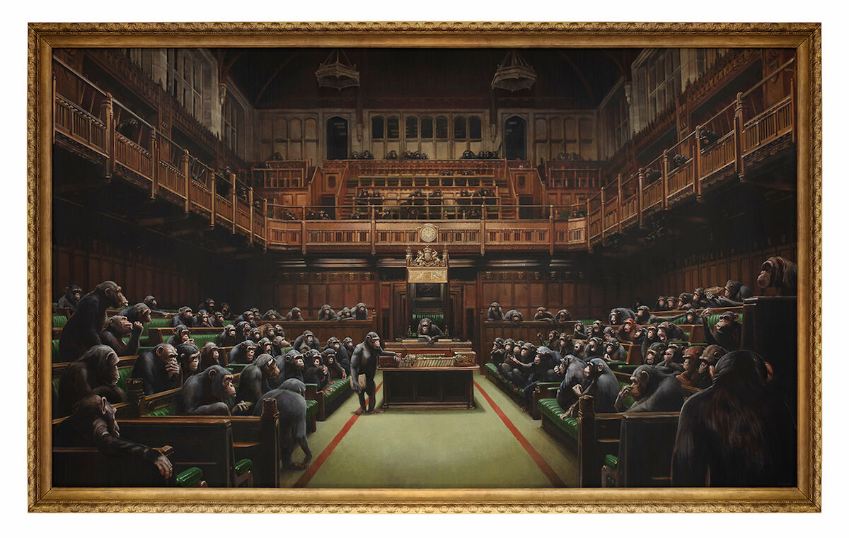 Banksy, Devolved Parliament, 2009. Est. £1.5 million–£2 million ($1.9 million–$2.5 million). Courtesy Sotheby's.