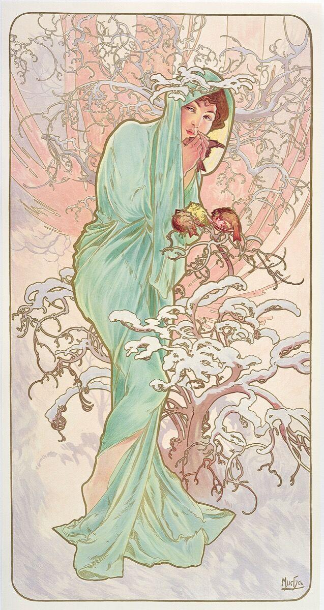 Alphonse Mucha,  Les Saisons: l'hiver , 1896. © Mucha Trust 2018.