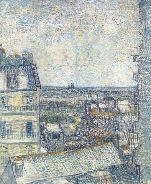 Vincent Van Gogh, Vue de la chambre de l'artiste, 1887. Image via Wikimedia Commons.
