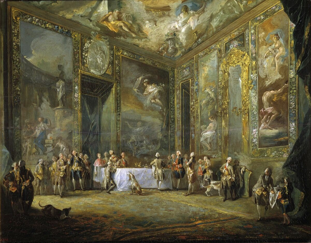 Luis Paret y Alcázar, Charles III Dining Before the Court, c. 1775. Museo del Prado. Photo via Wikimedia Commons.