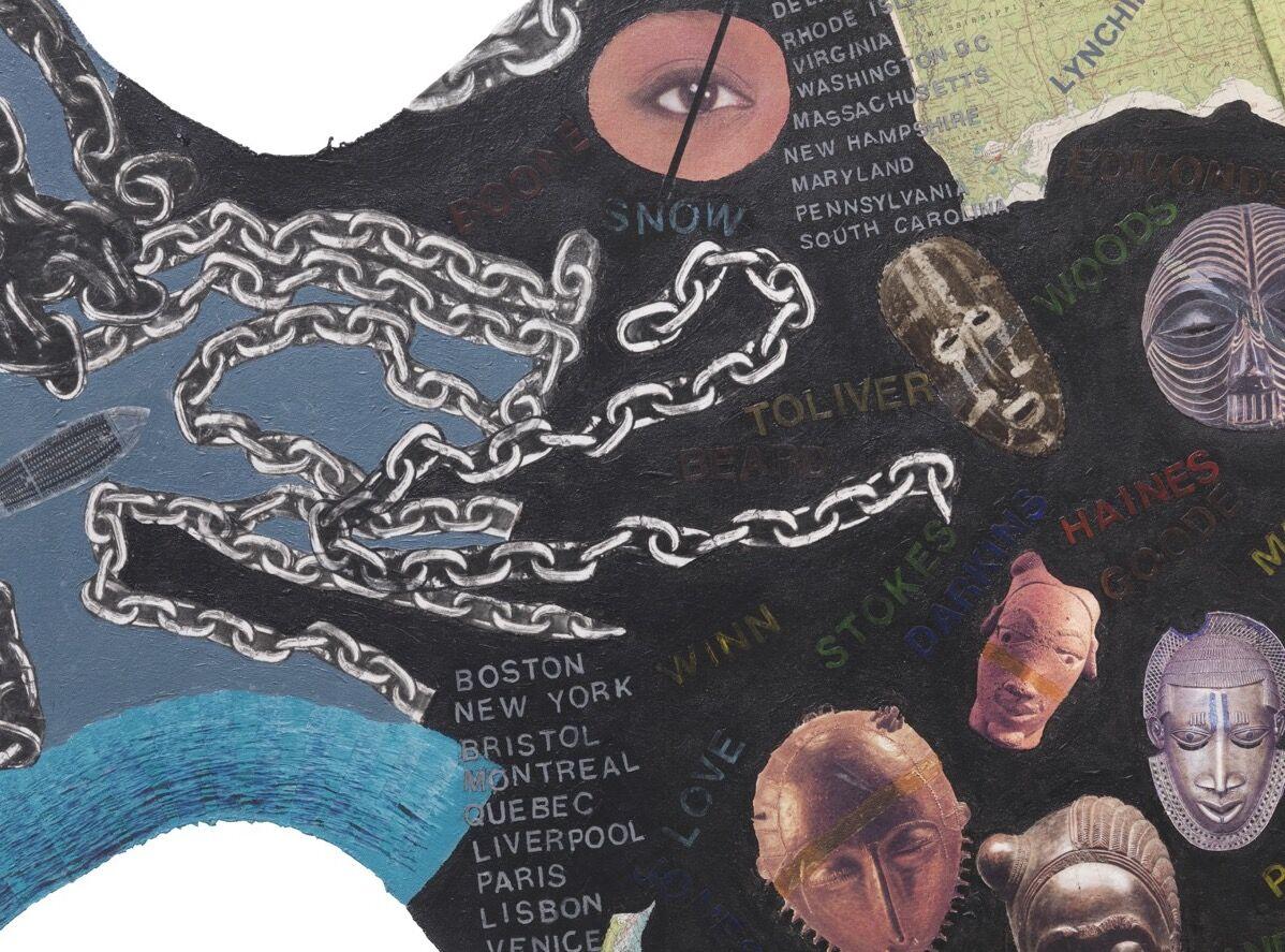 Detail oHowardena Pindell, Slavery Memorial: Lash , 1998–1999. Courtesy of Garth Greenan.