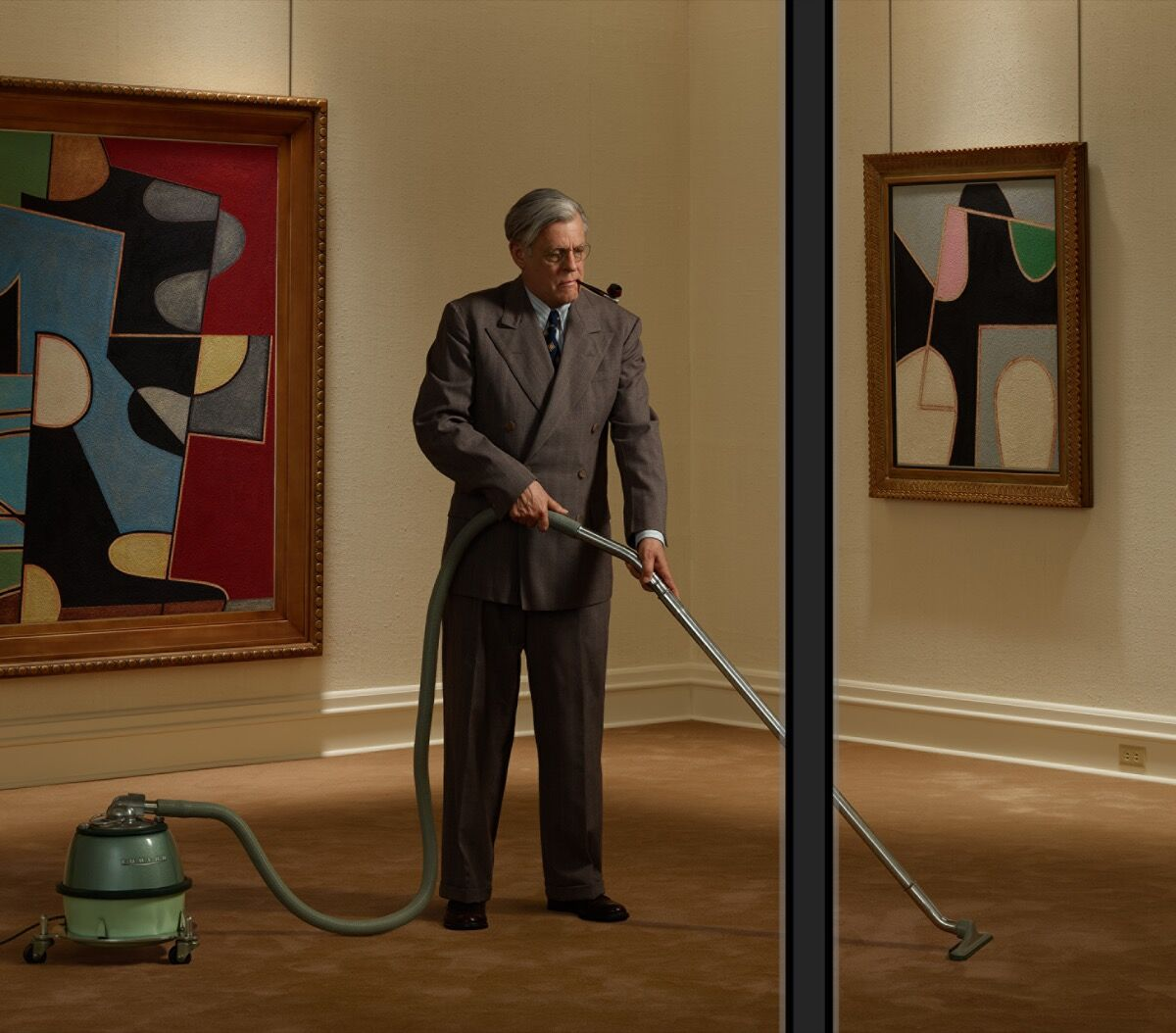 Rodney Graham, detail of Vacuuming the Gallery 1949, 2018. © Rodney Graham. Courtesy of Lisson Gallery.