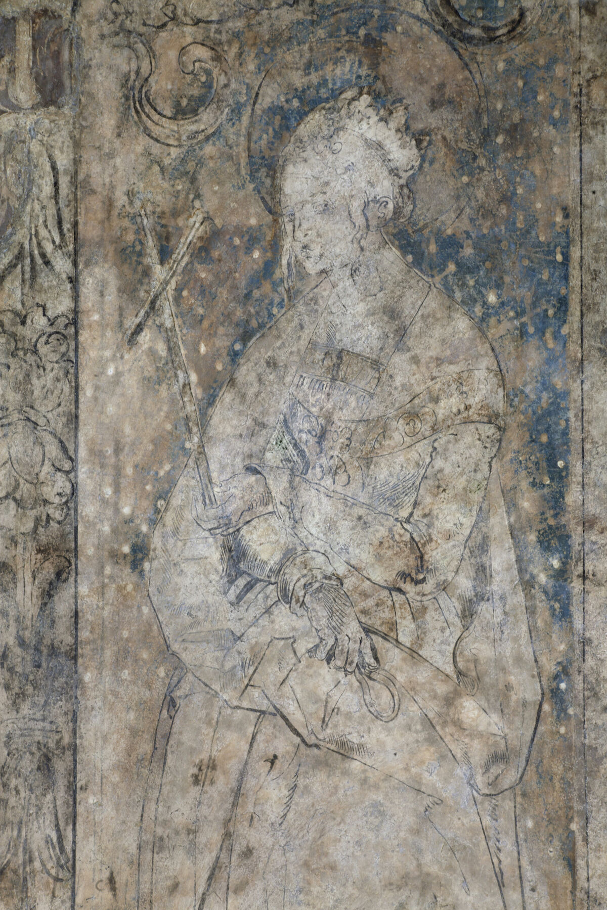 A portion of the wall painting at St. Stephen's Cathedral in Vienna that may have been executed by Albrecht Dürer. Photo © Federal Monuments Authority Austria, Vienna, Irene Dworak.