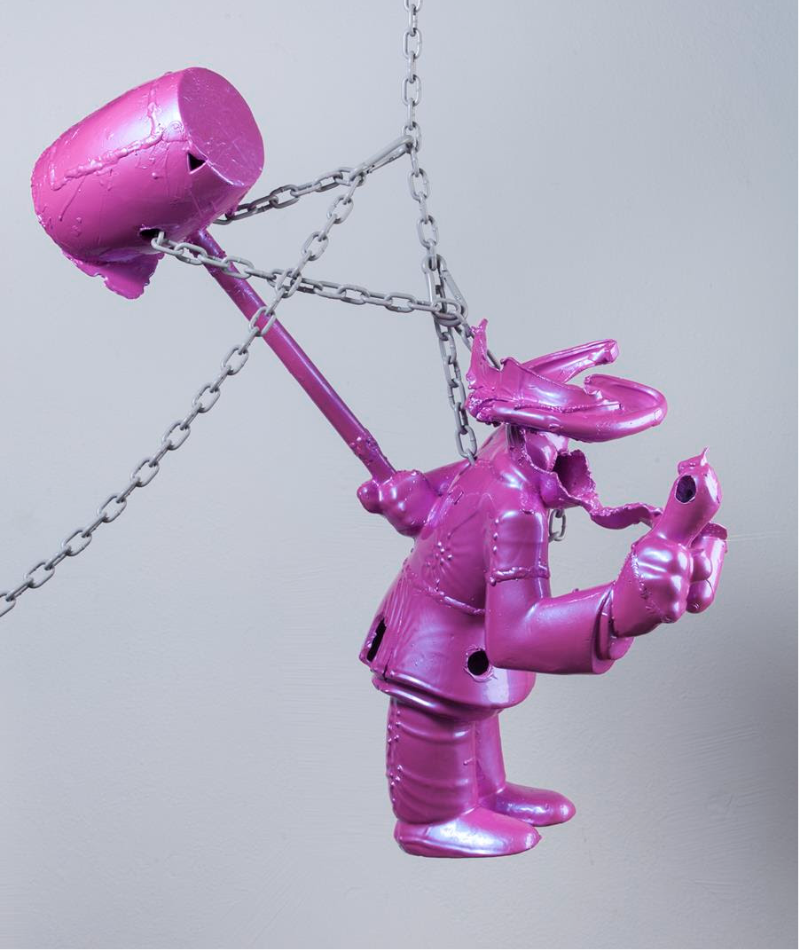 Parker Ito,Western Exterminator / Kernel Kleenup / Little Man / Pesterminator (automotive pink),2013-2015. Bronze, automotive paint, hanging hardware, 34 x 36 x 16 inches. Courtesy of the artist and Château Shatto.
