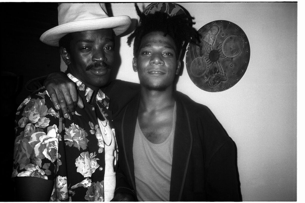 Portrait of Fred Brathwaite (Fab 5 Freddy) and Jean-Michel Basquiat, 1986. Photo by Patrick McMullan/Getty Images.