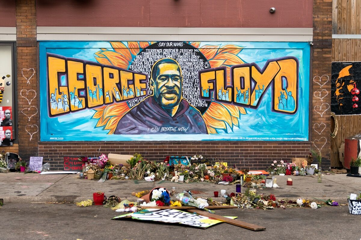 George Floyd Mural by Greta McLain, Xena Goldman and Cadex Herrera, 2020. Photo by Lorie Shaull. Courtesy of the artists.