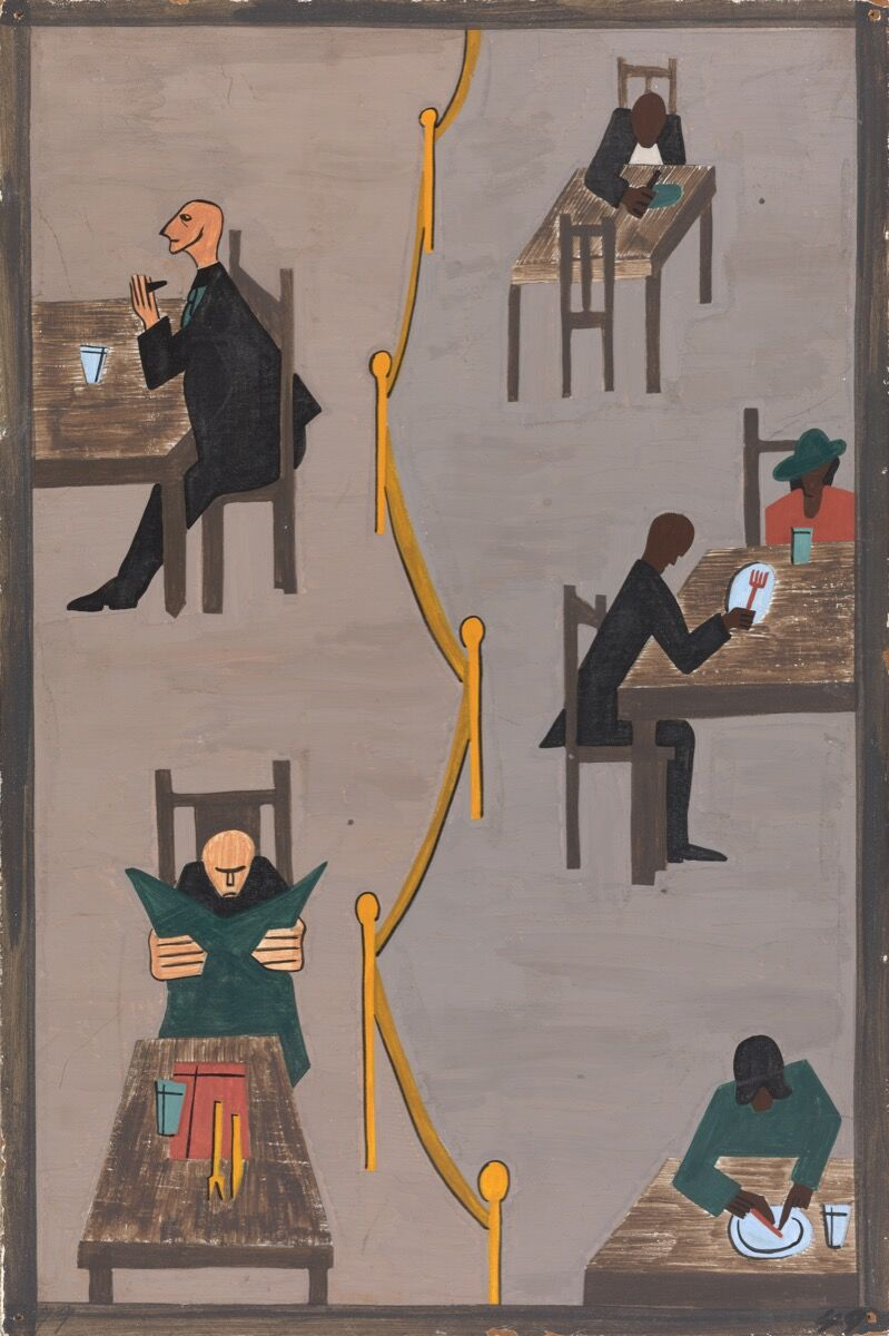 Jacob Lawrence, The Migration Series, Panel no. 49: They found discrimination in the North.1940–1941. © The Jacob and Gwendolyn Lawrence Foundation, Seattle / Artists Rights Society (ARS), New York. Courtesy of The Philips Collection.
