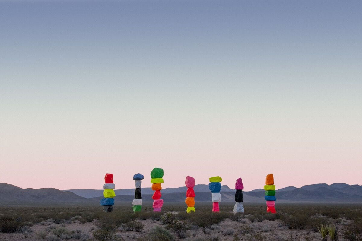 Ugo Rondinone: Seven Magic Mountains, Las Vegas, Nevada, 2016. Photo by Gianfranco Gorgoni. Courtesy of Art Production Fund and Nevada Museum of Art.