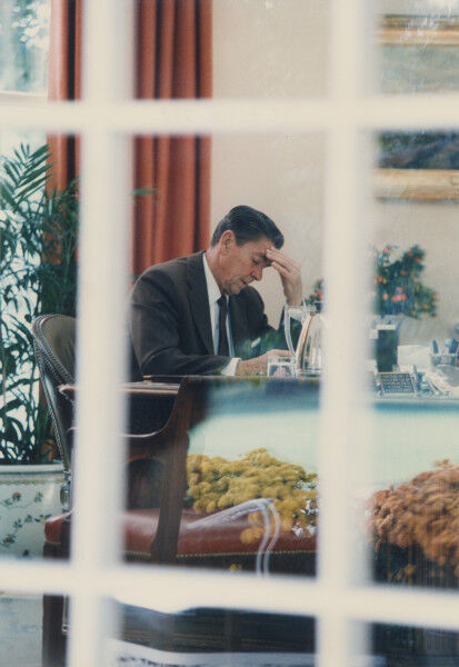 President Ronald Reagan at work in the Oval Office, October 27, 1983. Courtesy of Ronald Reagan Presidential Library and Museum/NARA.