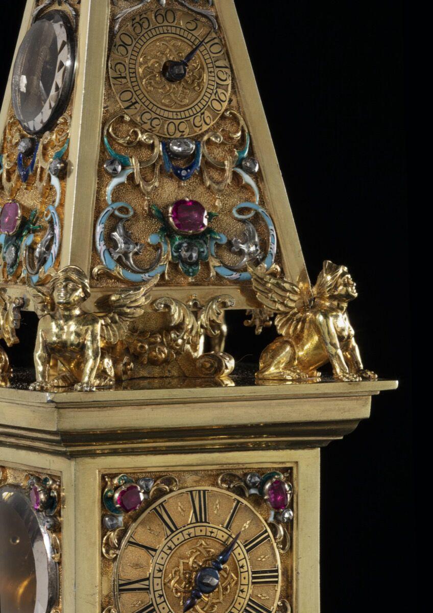 Johann Heinrich Köhler, Jeweled obelisk clock, ca. 1720–25. Courtesy of Galerie J. Kugelcirca and TEFAF.