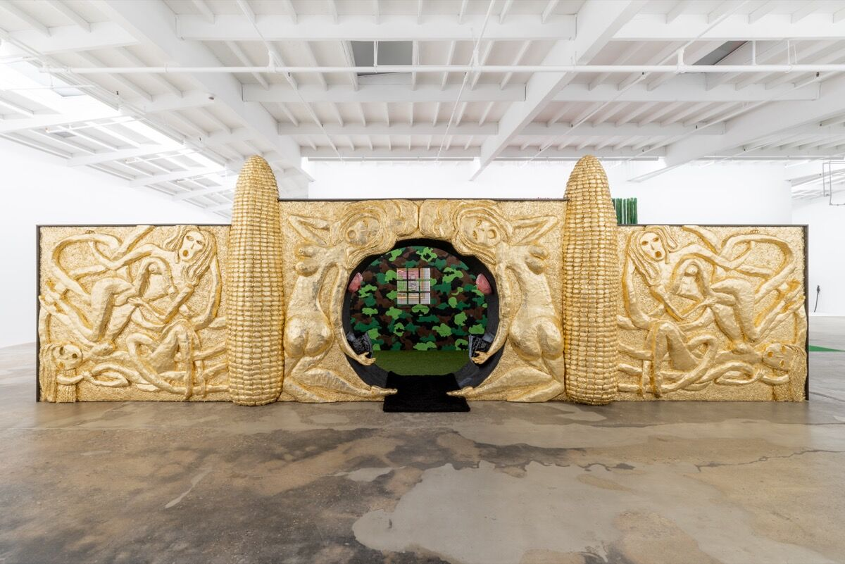 Trulee Hall, Golden Corn Entryway with Boob Fountain, 2018, at Maccarone, Los Angeles. Photo by Coley Brown. Courtesy of the artist, Zabludowicz Collection in collaboration with Tamares Real Estate Holdings, Inc. and Maccarone, Los Angeles.