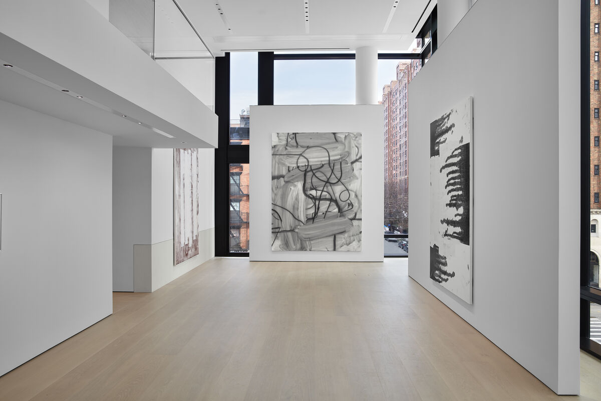 """Installation view of Christopher Wool, Untitled, 2007, and Untitled, 2015, at """"Maybe Maybe Not: Christopher Wool and the Hill Collection,""""  at the Hill Art Foundation. © Christopher Wool. Photo by Matthew Herrmann. Courtesy of the Hill Art Foundation."""