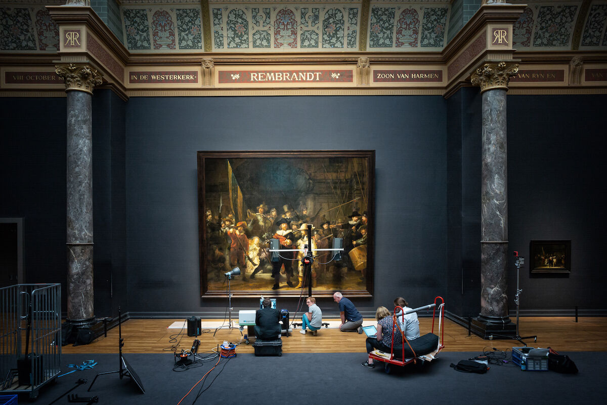 Preliminary research on Rembrandt van Rijn's The Night Watch (1642) at the Rijksmuseum. Photo by Daniel Maissan, courtesy the Rijksmuseum.