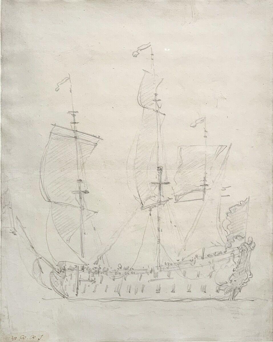Willem van de Velde the Younger, Three Master (English Man o' War). Courtesy of John Currin, Rachel Feinstein, and the New York Academy of Art.