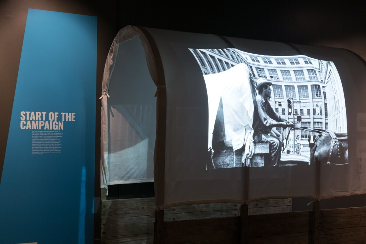 """Installation view of """"City of Hope: Resurrection City & the 1968 Poor People's Campaign"""" at the Smithsonian National Museum of African American History and Culture, 2020. Courtesy of the Smithsonian National Museum of African American History and Culture."""