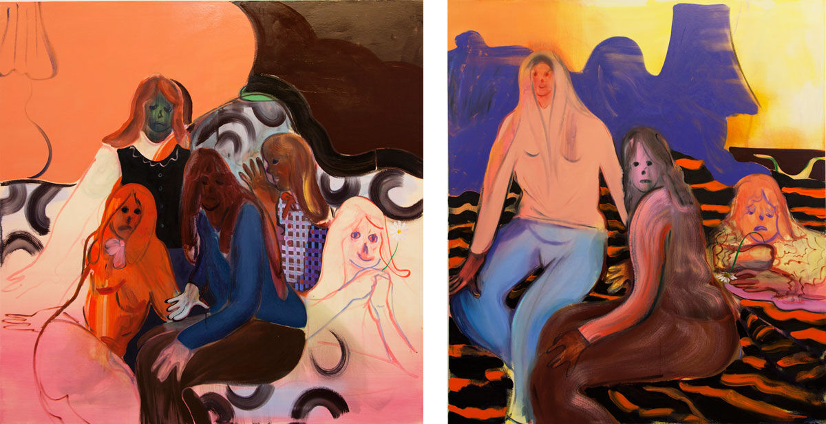 Left:Heidi Hahn, Believe in All at Once, Maybe Later; Right:Heidi Hahn, Women for All, but None for You. Images courtesy of Jack Hanley Gallery.
