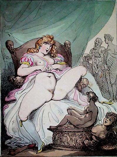 Thomas Rowlandson, A Woman exposes herself in a tent. Image via Wikimedia Commons.