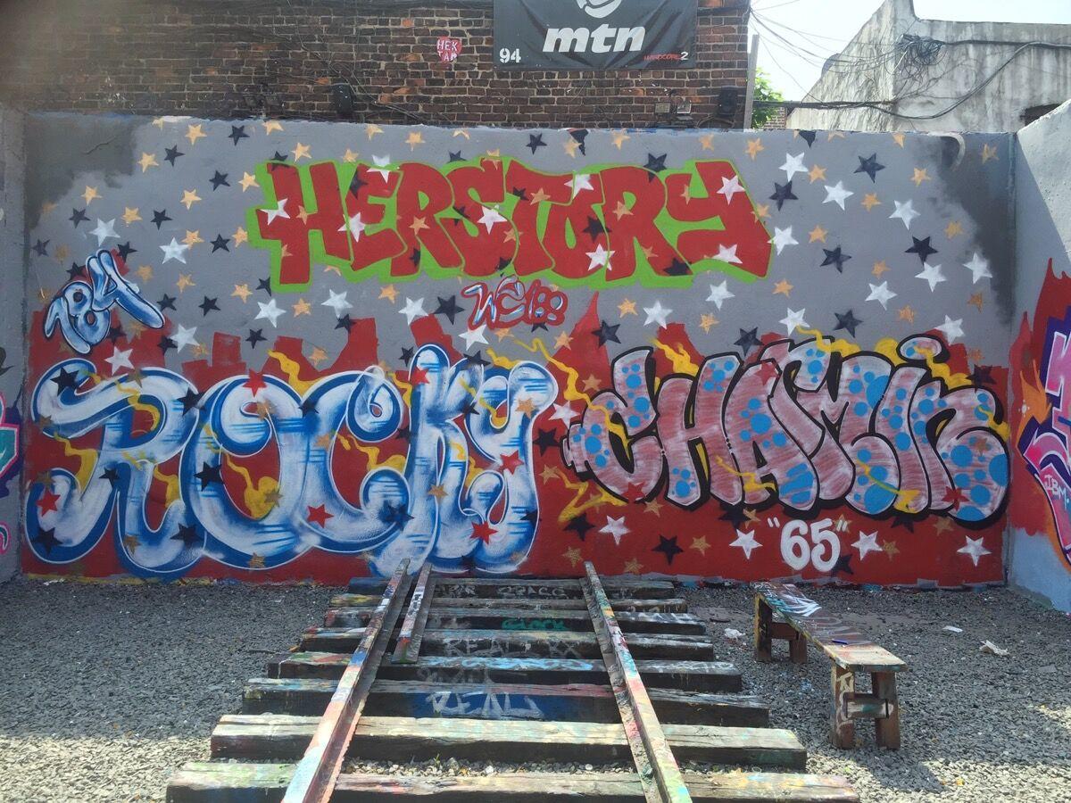 A wall from the Bronx Graffiti Art Gallery's first series of all female graffiti series, artwork by Charmin65 & Rocky 184, 2016. Courtesy of Bronx Graffiti Art Gallery.