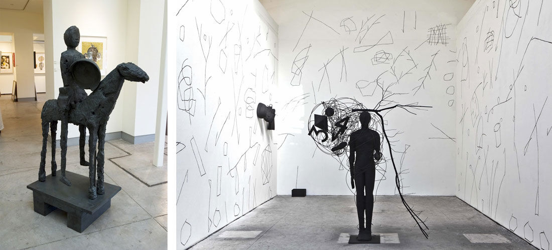 """Left: Installation view of """"Mimmo Paladino: Works in Transition"""" courtesy of Zane Bennett Contemporary Art. Right: Installation view of Mimmo Paladino, Senza titolo, at the Italian Pavilion at the 56th Venice Biennale. Photo by Alex John Beck for Artsy."""