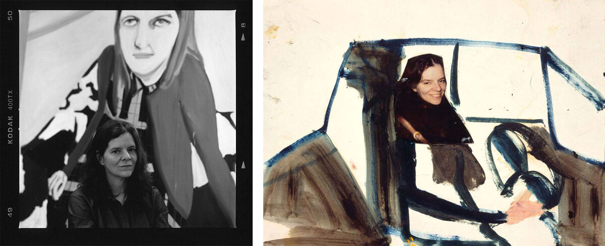 Left: Portrait of Chantal Joffe by Nicholas Sinclair. Right: Chantal Joffe, Anne Sexton and Me, 1994. Courtesy the Artist and Victoria Miro, London. © Chantal Joffe.
