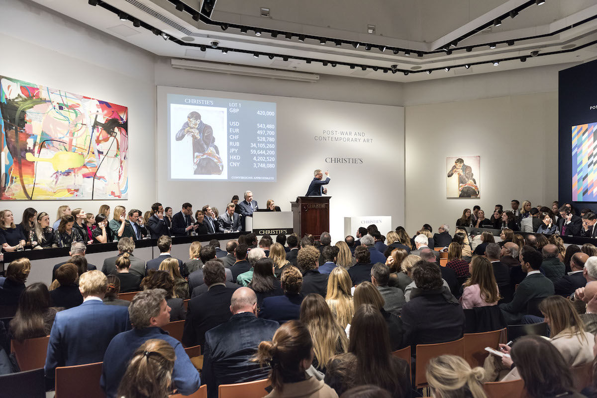 The salesroom at Christie's in London on Wednesday night. Photo © Christie's Images Limited 2020.