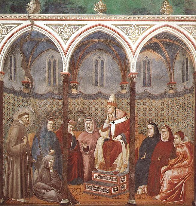 Giotto di Bondone, St. Francis Preaching before Honorius III in the Upper Basilica of San Francesco d'Assisi. Image via Wikimedia Commons.