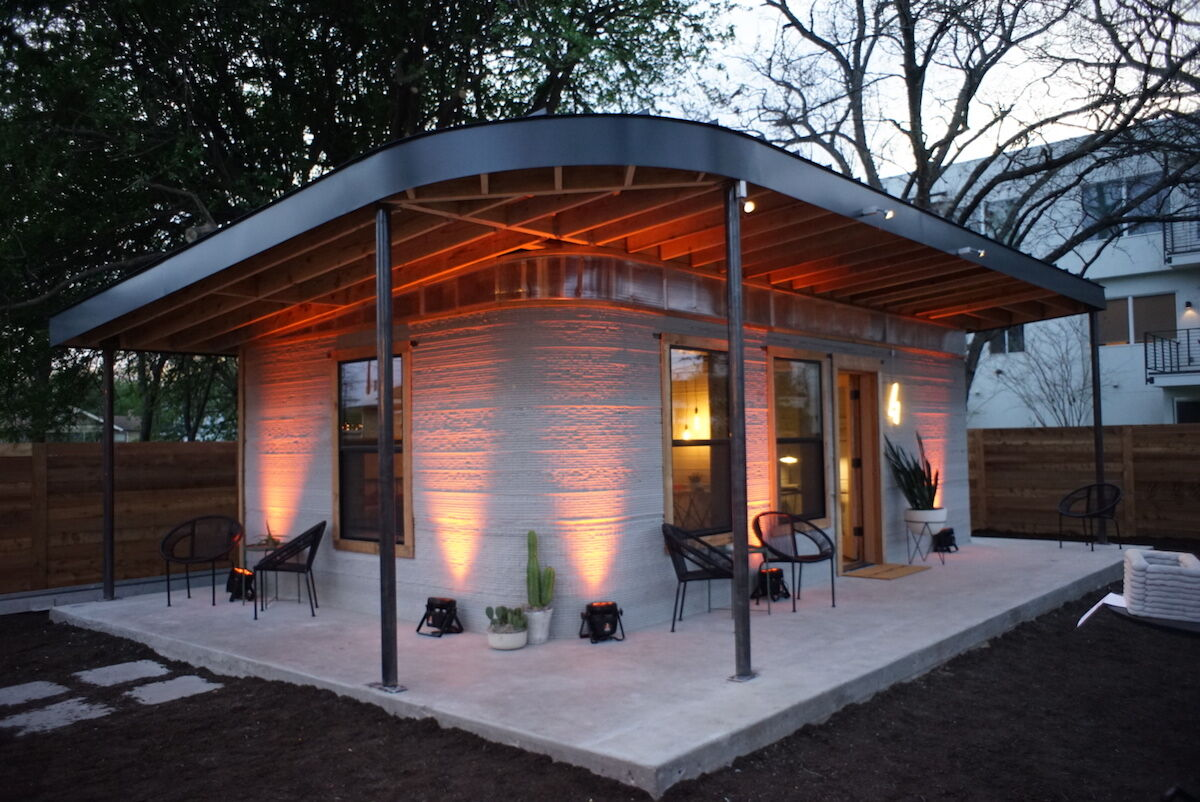 Image of Icon's first 3D-printed home. Courtesy of New Story and Icon.