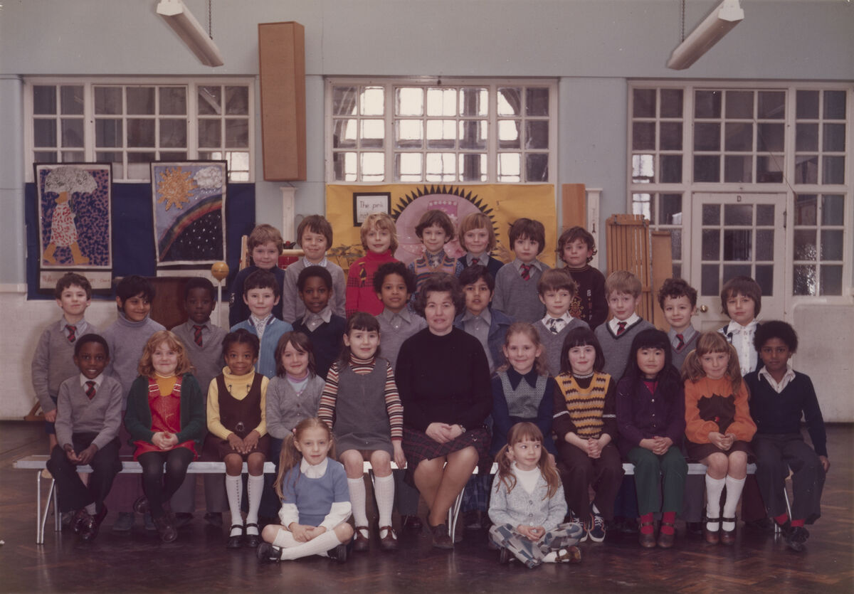 Steve McQueen's Year 3 class at Little Ealing Primary School, 1977. McQueen is seated fifth from the left in the middle row. Courtesy Tate.