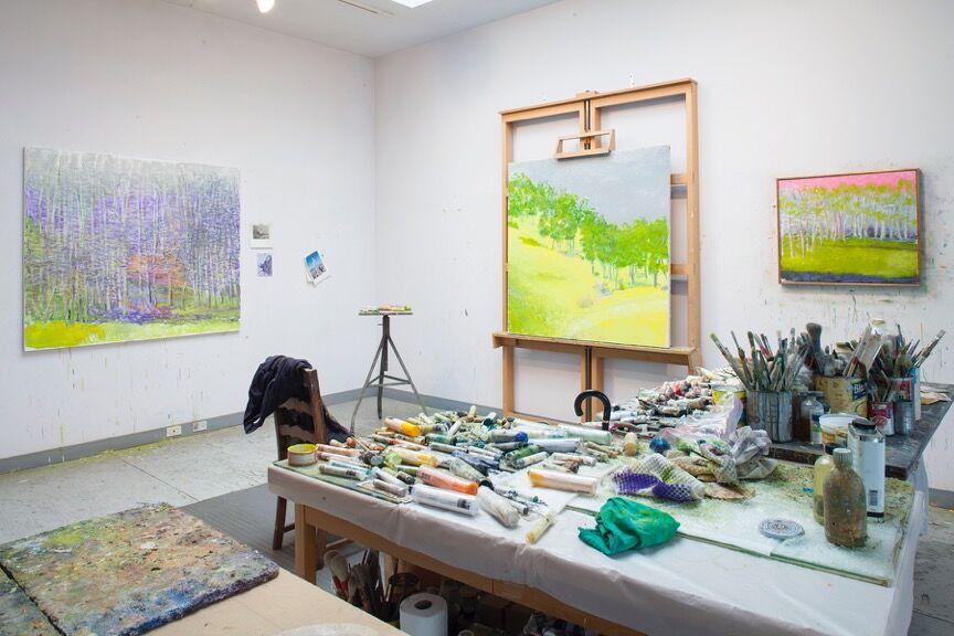 Wolf Kahn's studio, New York, 2015. Courtesy Ameringer | McEnery | Yohe. Photography by Christopher Burke Studios.