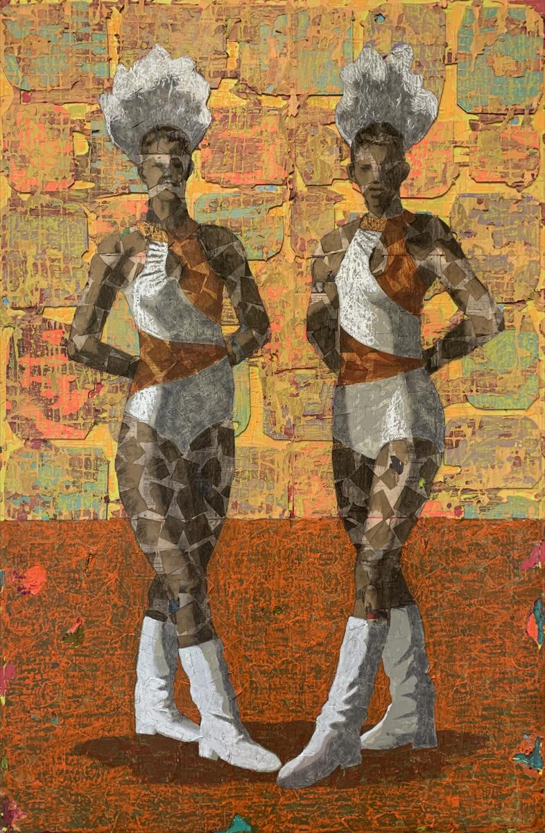 Derek Fordjour, Tandem Orange, 2019. Courtesy of the artist.