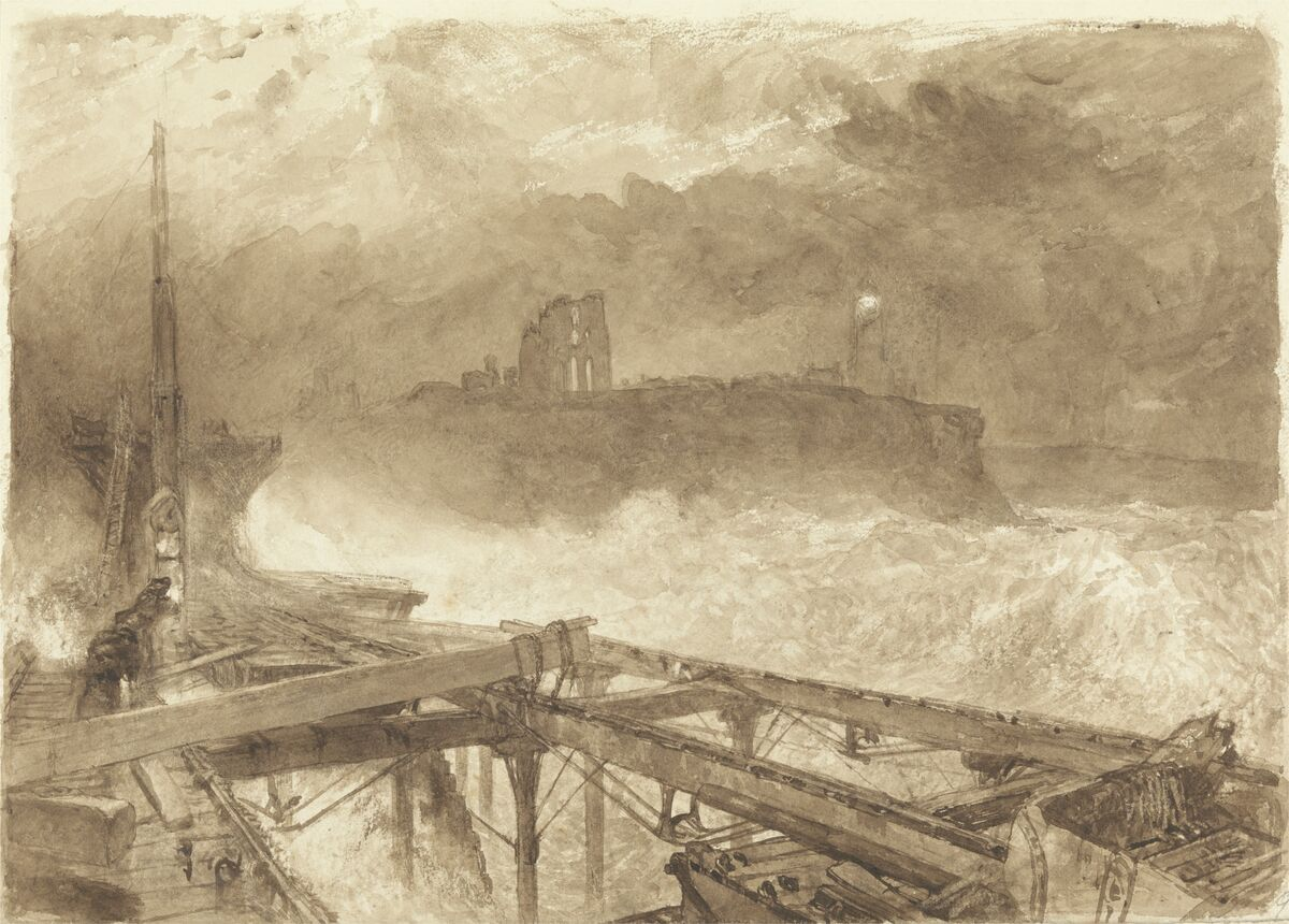 Alfred William Hunt,  Study for Tynemouth Pier–Lighting the Lamps at Sundown,  ca. 1863. Courtesy of the Yale Center for British Art.