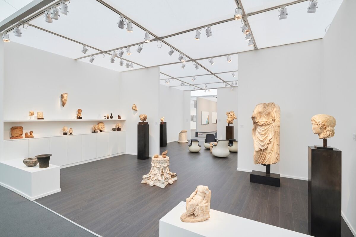 Installation view of Chenel Gallery's booth at Frieze Masters, 2018.  Courtesy of the gallery.