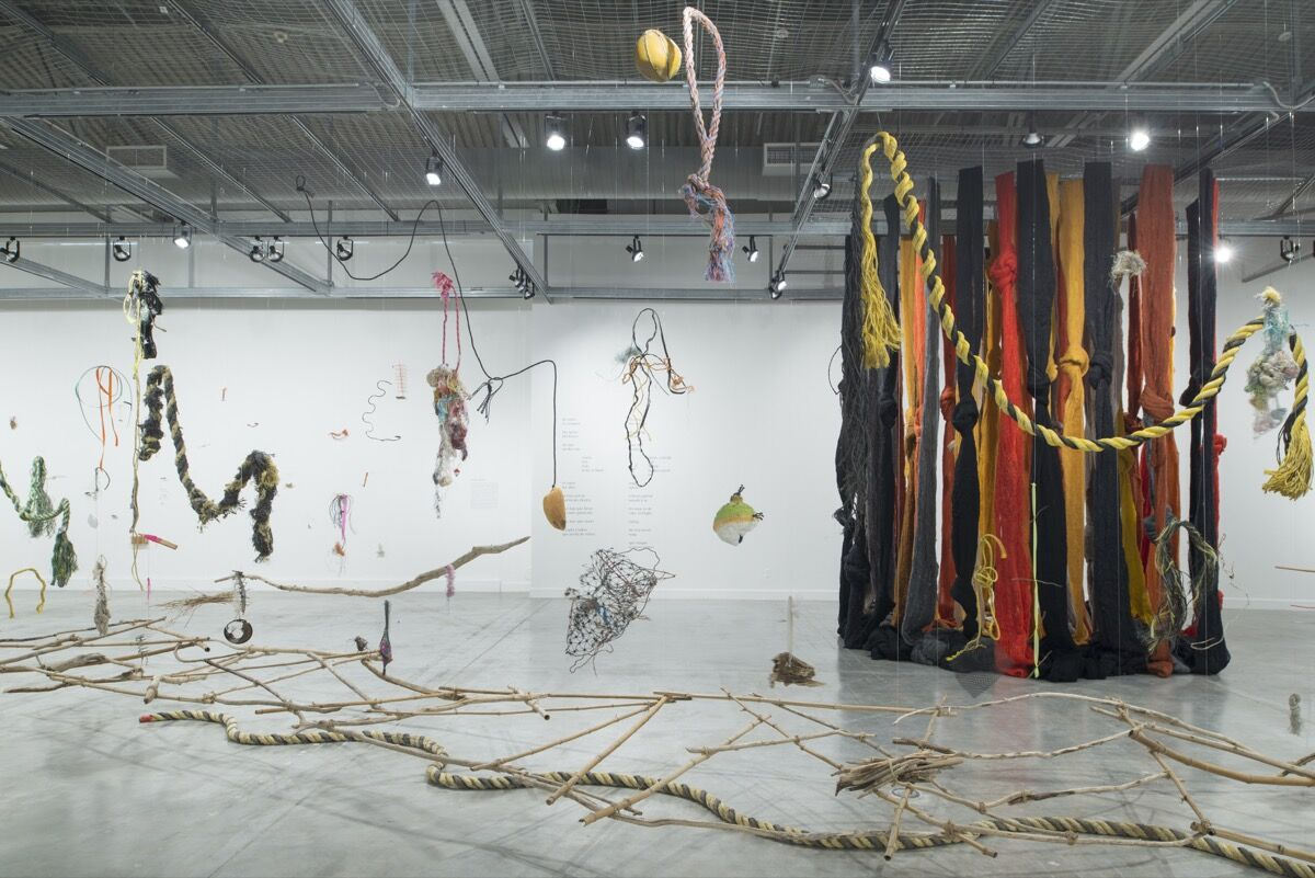 """Cecilia Vicuña, installation view of """"About to Happen"""" at The Museum of Contemporary Art, North Miami, 2019-20. Photo by Daniel Bock. Courtesy of The Museum of Contemporary Art, North Miami."""