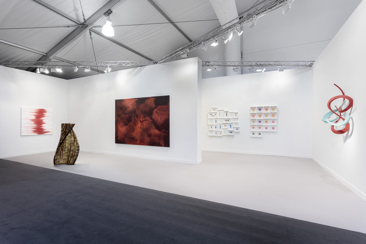 Installation view of Shirazeh Houshiary's solo presentation at Lehman Maupin's booth at Frieze Los Angeles, 2019. Courtesy of Lehman Maupin.