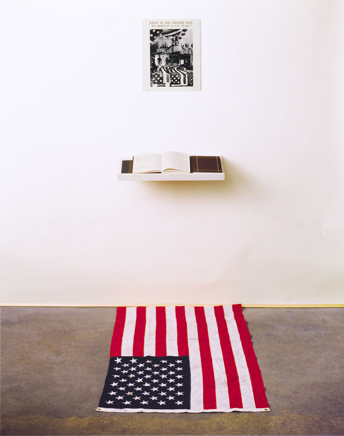 Installation view of Dread Scott, What is the Proper Way to Display a U.S. Flag?, 1988. Courtesy of the artist.